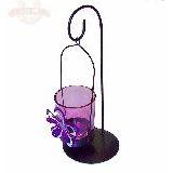 Подсвечник на 1 свечу фиолетовый с цветком стекло/металл 21*8.5см