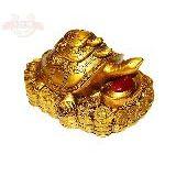 Черепахи на деньгах с камнем золотистые 10*7см