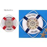 Часы Спасательный круг, морские узлы red/blue d-27см