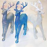 Олень блестящий новогодняя скульптура (3вида) 33*23см