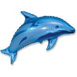Шар фольга (с клапаном) Дельфин 105*75 см
