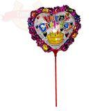 Шар фольга на палочке с держателем Сердце Happy Birthday 30*30 см