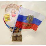Домовой в шляпе с флагом Россия