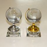 Сувенир Глобус стекло на подставке (серебро/золото) 11*6см