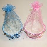 Корзина круглая с мешочком пластик/ткань blue/pink 16*9 см
