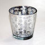 Подсвечник стекло silver (снежинки) 7.5*7.5см