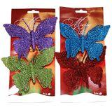 УПАКОВКА из 2-х Бабочки блестящие декор. на клипсе 28*15см