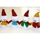 Снеговик в бестящем колпаке и шарфе 19см пена (1уп-12шт)1шт (4цвета)