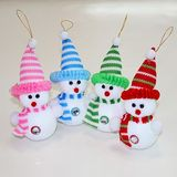 Снеговик малый в вяз. колпаке и шарфе пена 16*8см (1уп-12шт)1шт (4цвета)