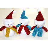 Снеговик в блестящем колпаке и шарфе 20*14см пена (4цвета)